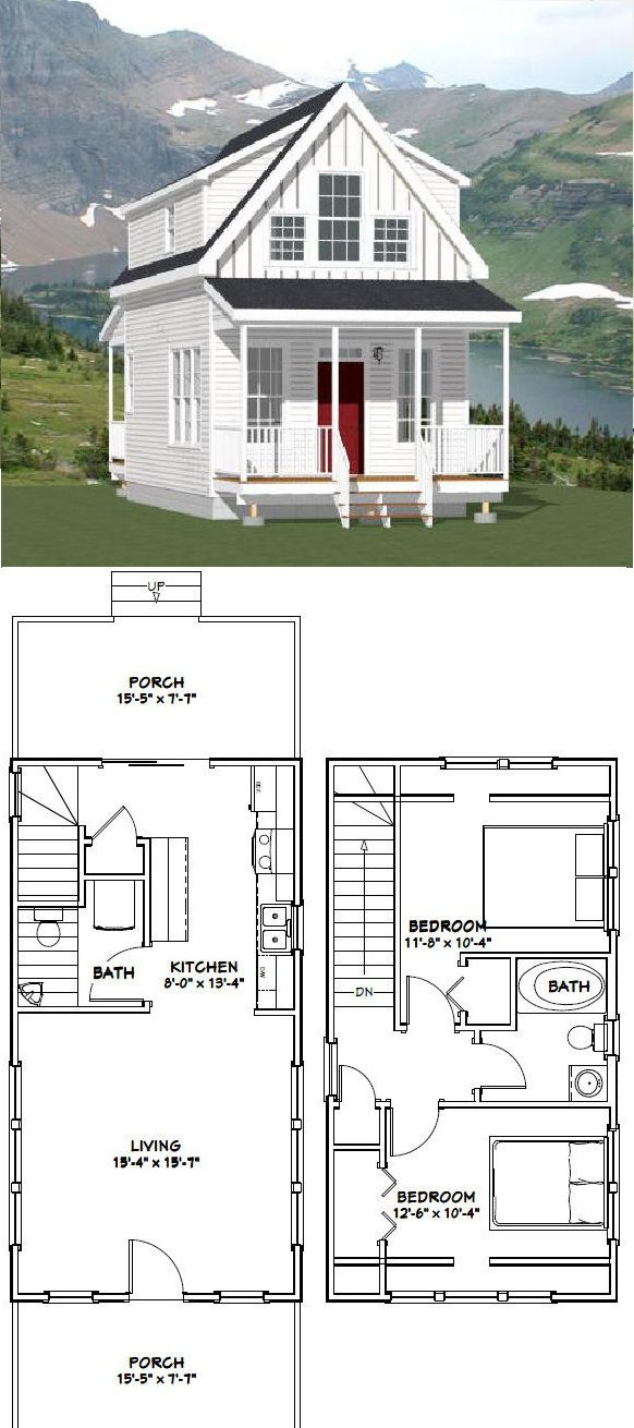 Excellent Floor Plans 16x30h8 873 Sq Ft Tiny House Cabin Tiny House Plans Tiny House Design