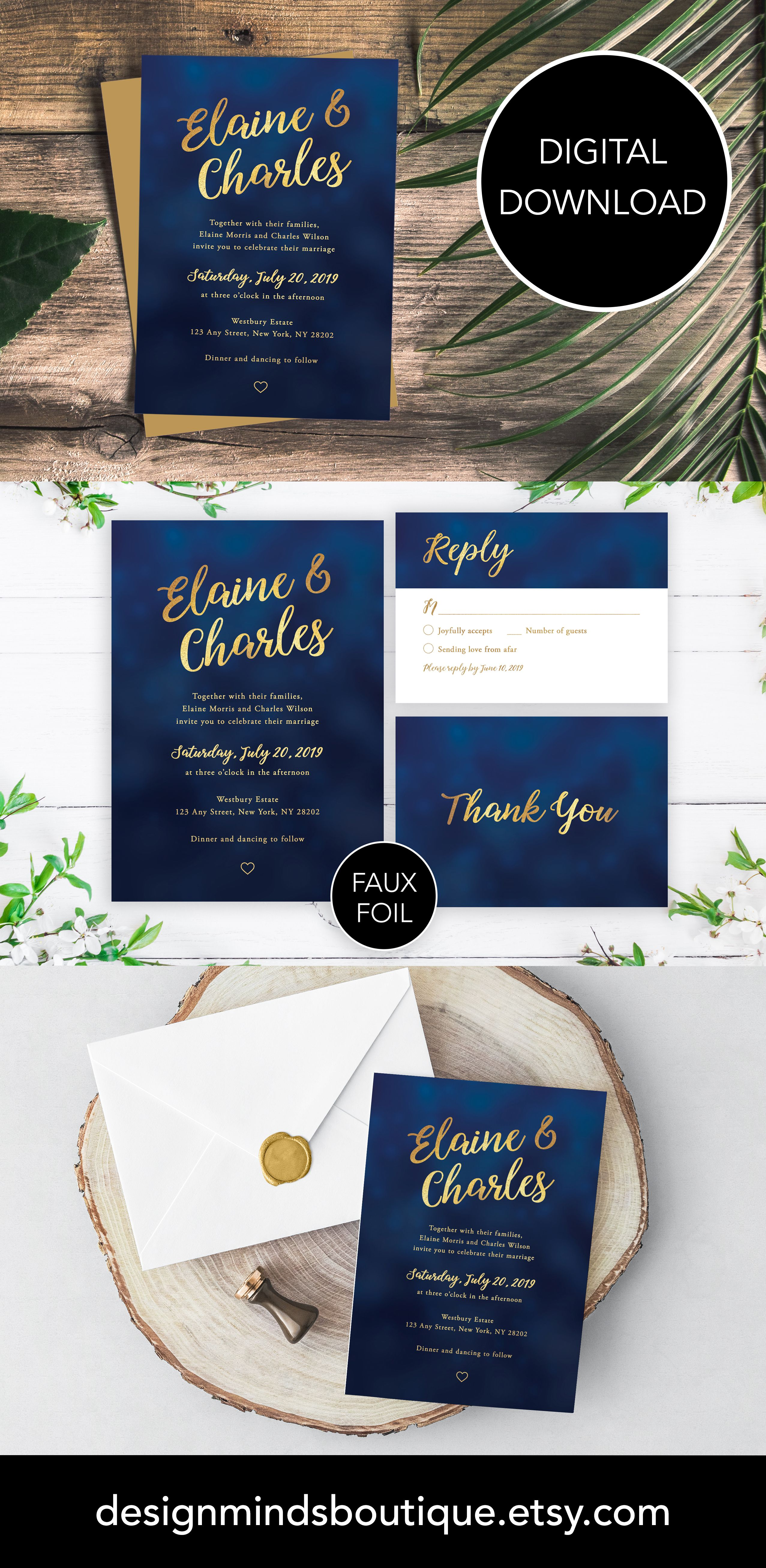 Navy Blue And Gold Wedding Invitation Template Navy And