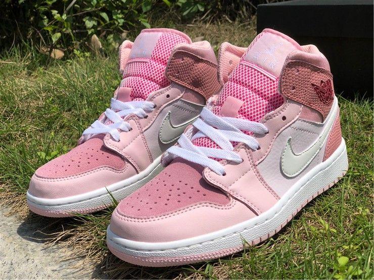 2020 Air Jordan 1 Mid Digital Pink For Girls Cw5379 600 In 2020