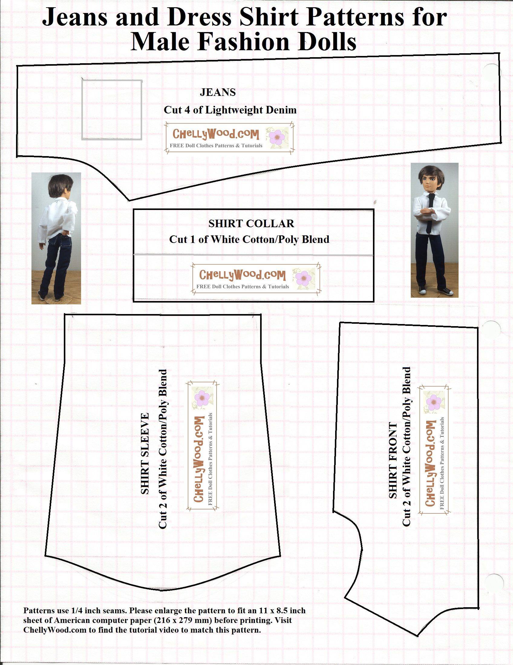 Free printable sewing patterns for dolls of many shapes and sizes ...