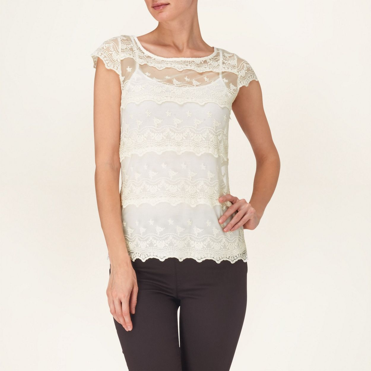 Phase Eight Ivory maura tiered lace top- at Debenhams.com | Places ...