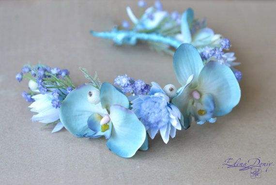 Pastel Blue Orchid Wreath Blue Floral Crown Wedding Crown Of Blue Orchids Bridal Wreath Blue Headpiece Flower Crown Wedding Blue Floral Crown Bridal Crown