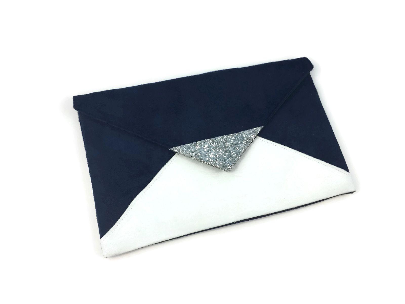 pochette de soir e mariage bleu marine et blanche en. Black Bedroom Furniture Sets. Home Design Ideas