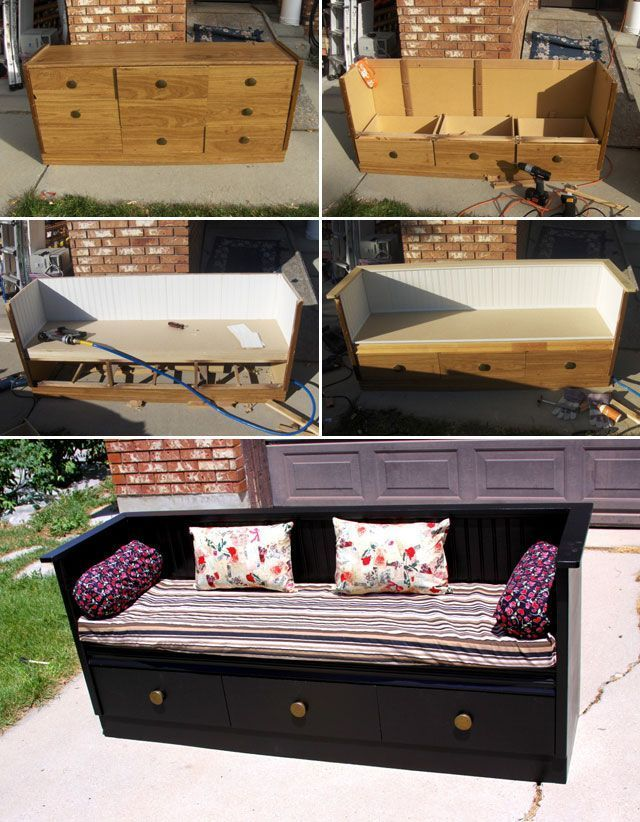 Photo of Turn an old chest of drawers into a cozy bench with a bit of woodworking skills. – UPCYCLING IDEAS