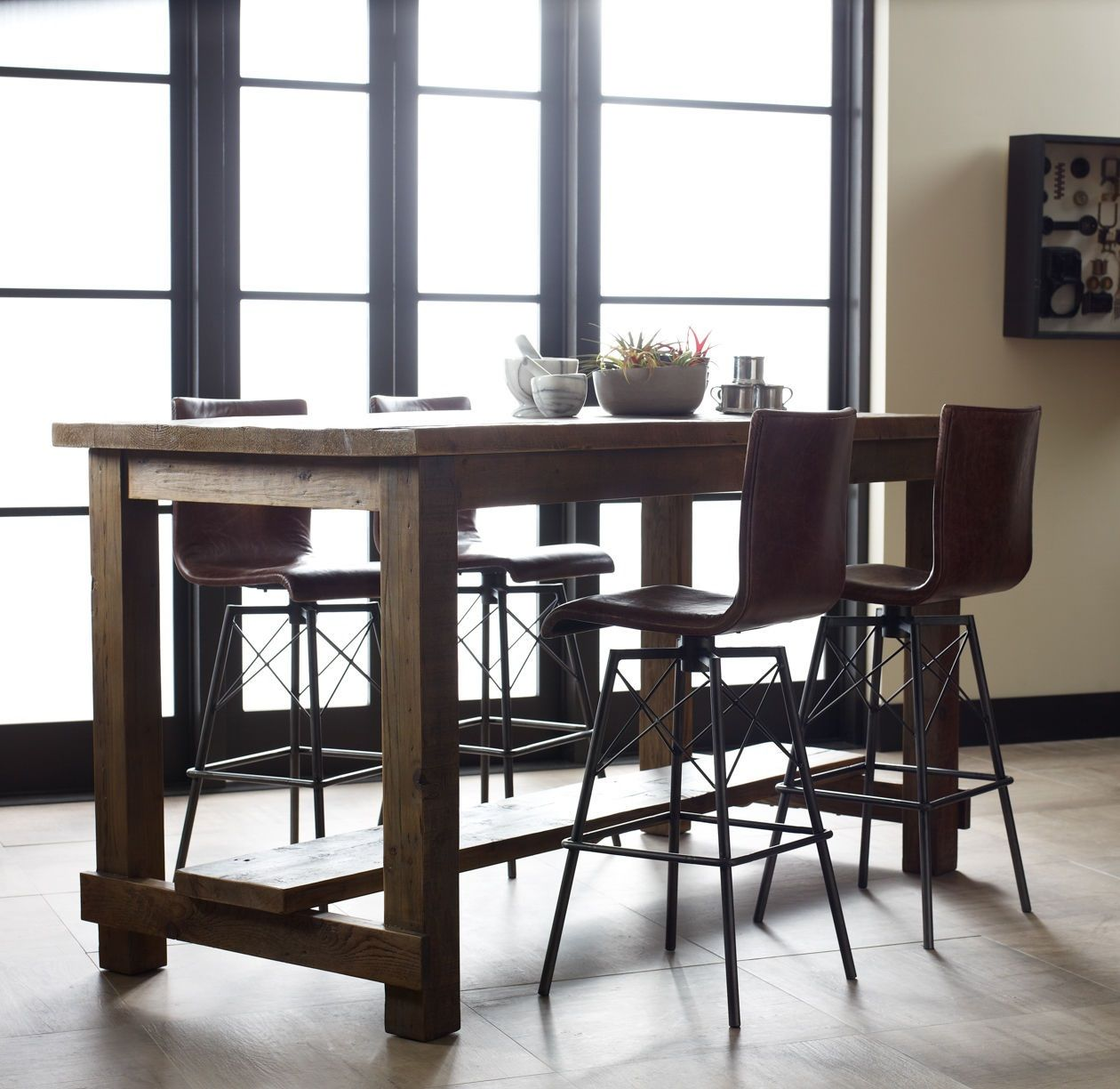 Wood Pub Bistro Small Bar Chairs Table Kitchen Nook: Cecil Farmhouse Reclaimed Wood Pub Table In 2019