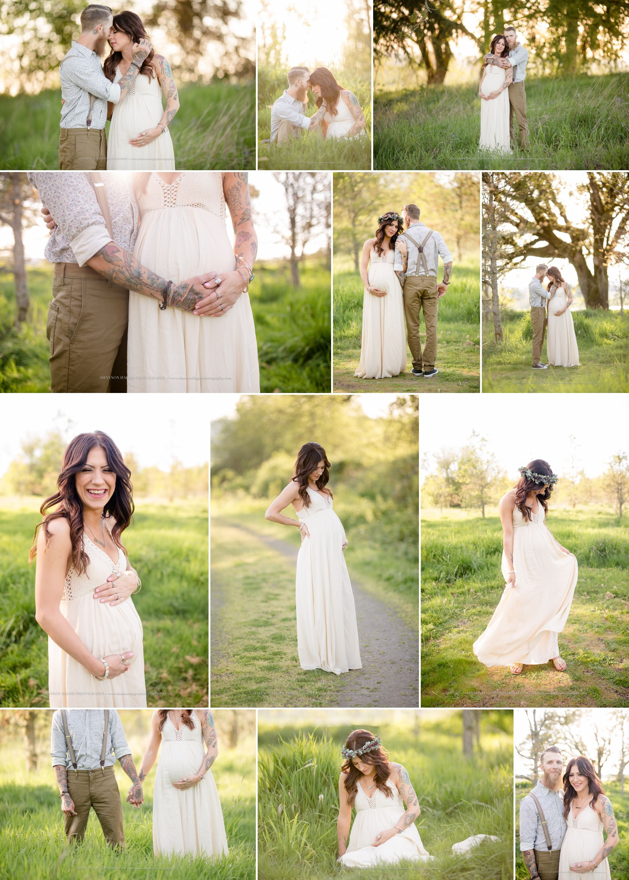 Portland maternity photographer outdoor boho tattoo maternity