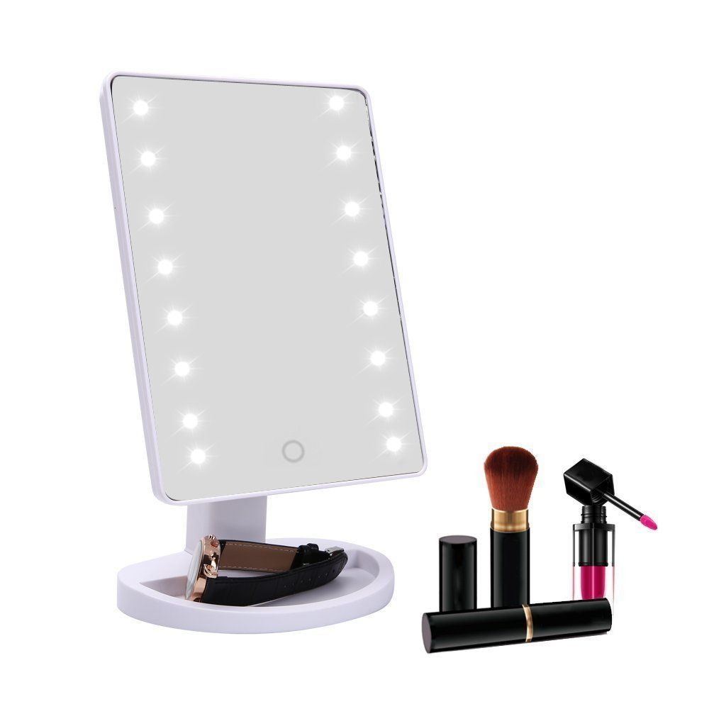 Lighted Makeup Mirror With 16 Led Lights And Touch Screen Dimmable