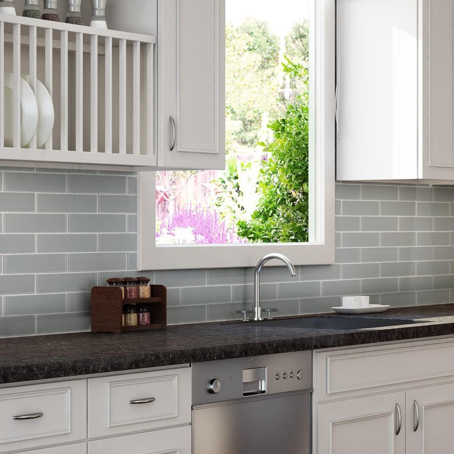 Mto0298 Classic 2x6 Subway Gray Glossy Glass Mosaic Tile Modern