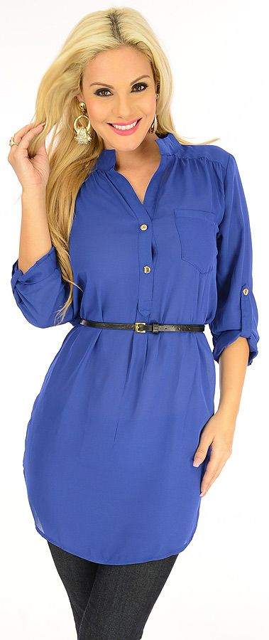 Beautiful Lady-$21.80-Delight the heavens with this divine tunic top. This button front design is accented with long sleeves that can be rolled up and fastened with a button and fabric tab. A pocket at the bust and buttons at the neckline add a chic touch, while a removable belt shows off your curves.