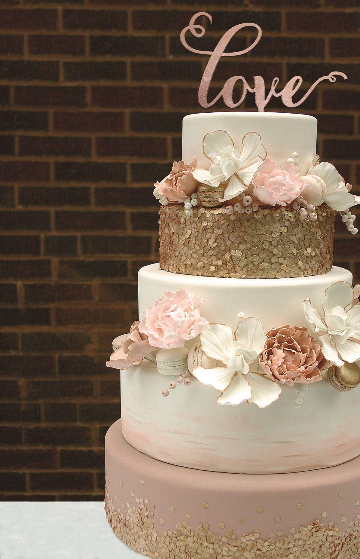 Love Cake Topper Rose Gold Cake Topper Gold Cake Topper Cake