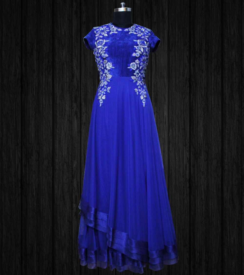 Royal blue long net dress with thread u sequins work uc