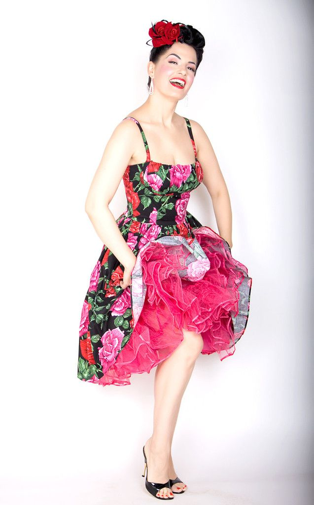 Paris Pin Up Dress in Black with Red and Pink Roses | Clothes ...