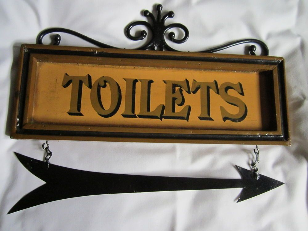 Vintage Metal Toilet Sign With Hanging
