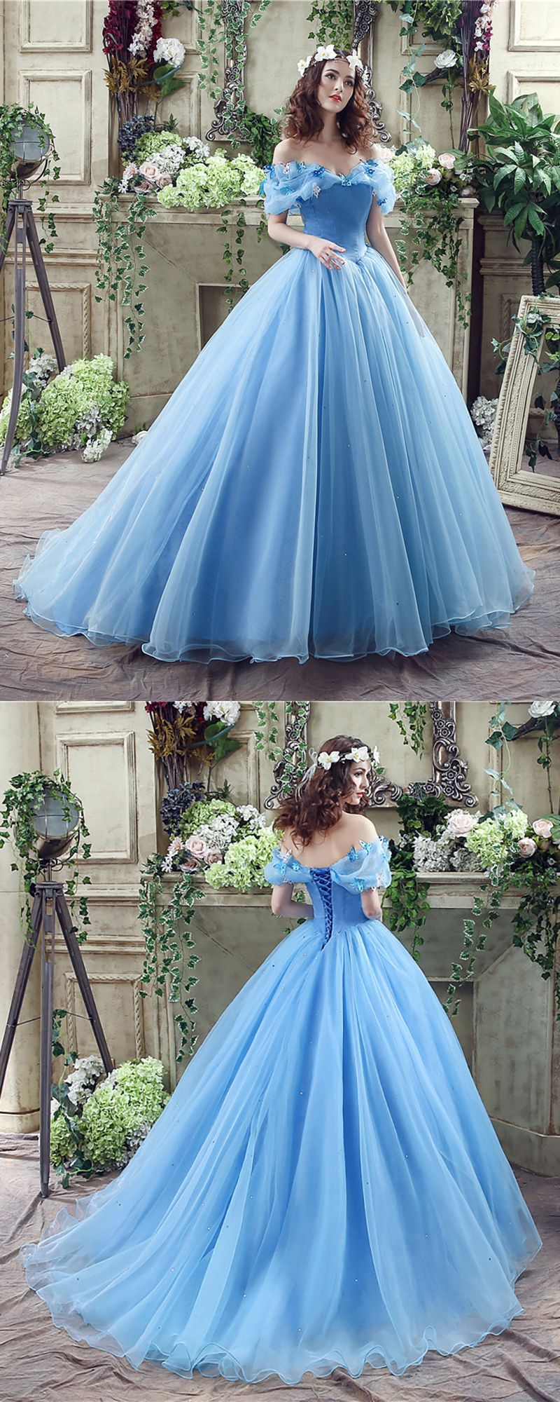 Non traditional blue cinderella princess bridal gowns with off