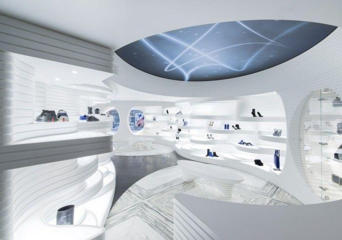 Mineralwerkstoff Hi Macs Schuhgeschäft Amsterdam Modernes Innendesign