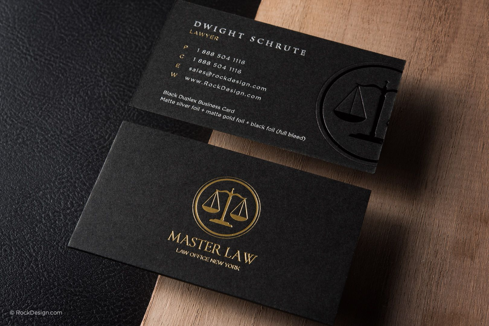 Classic Modern Black Duplex Attorney Business Card Template