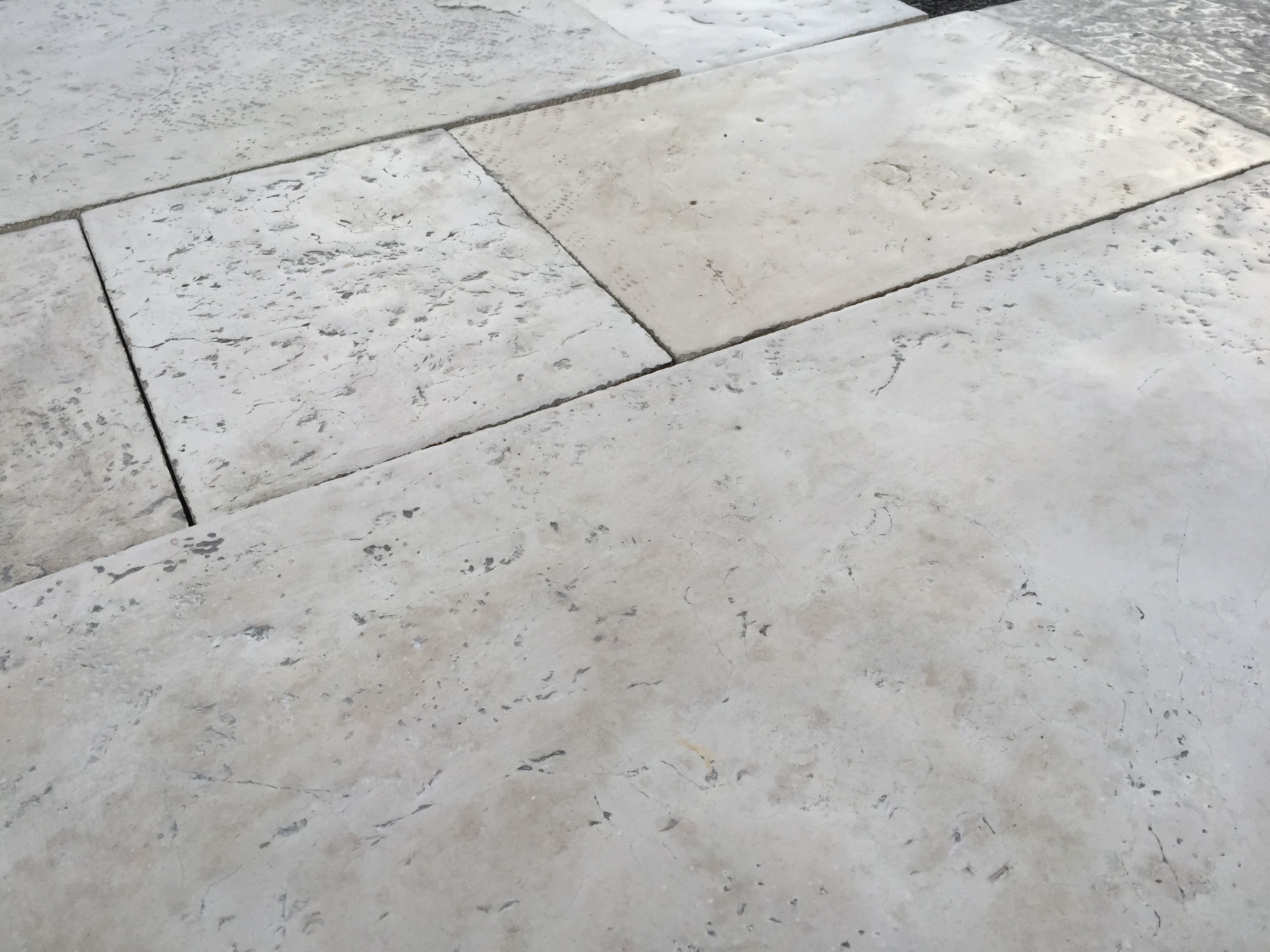 Antique Italian limestone flooring, white - cream linen ...