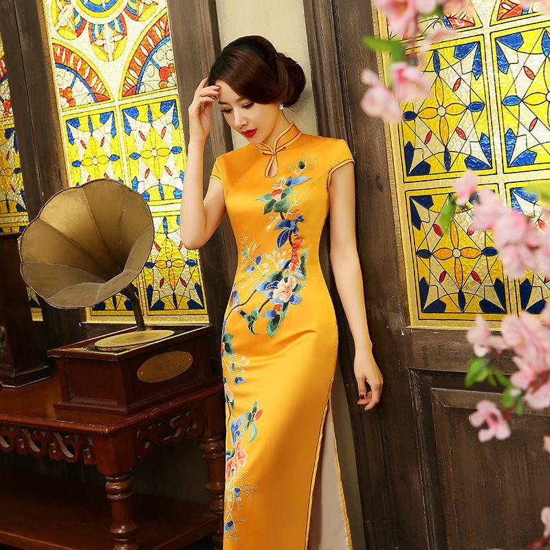 31fa4bdd06 chinese-ladies-elegant-silk-vintage-long-cheongsam-chinese ...