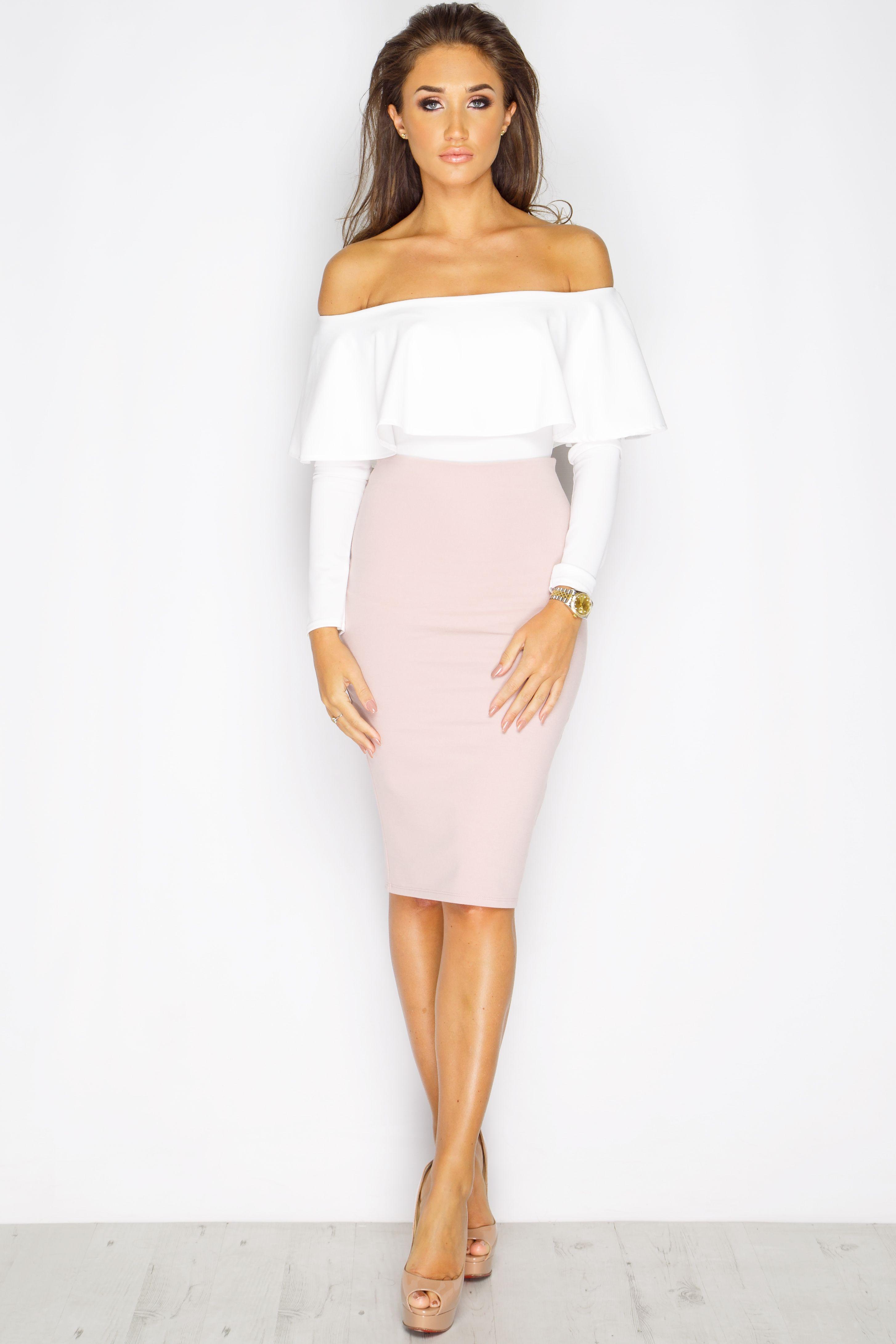 Women/'s Metallic Off Shoulder Bardot Ruffle Frill Top Party Bodycon Party Dress