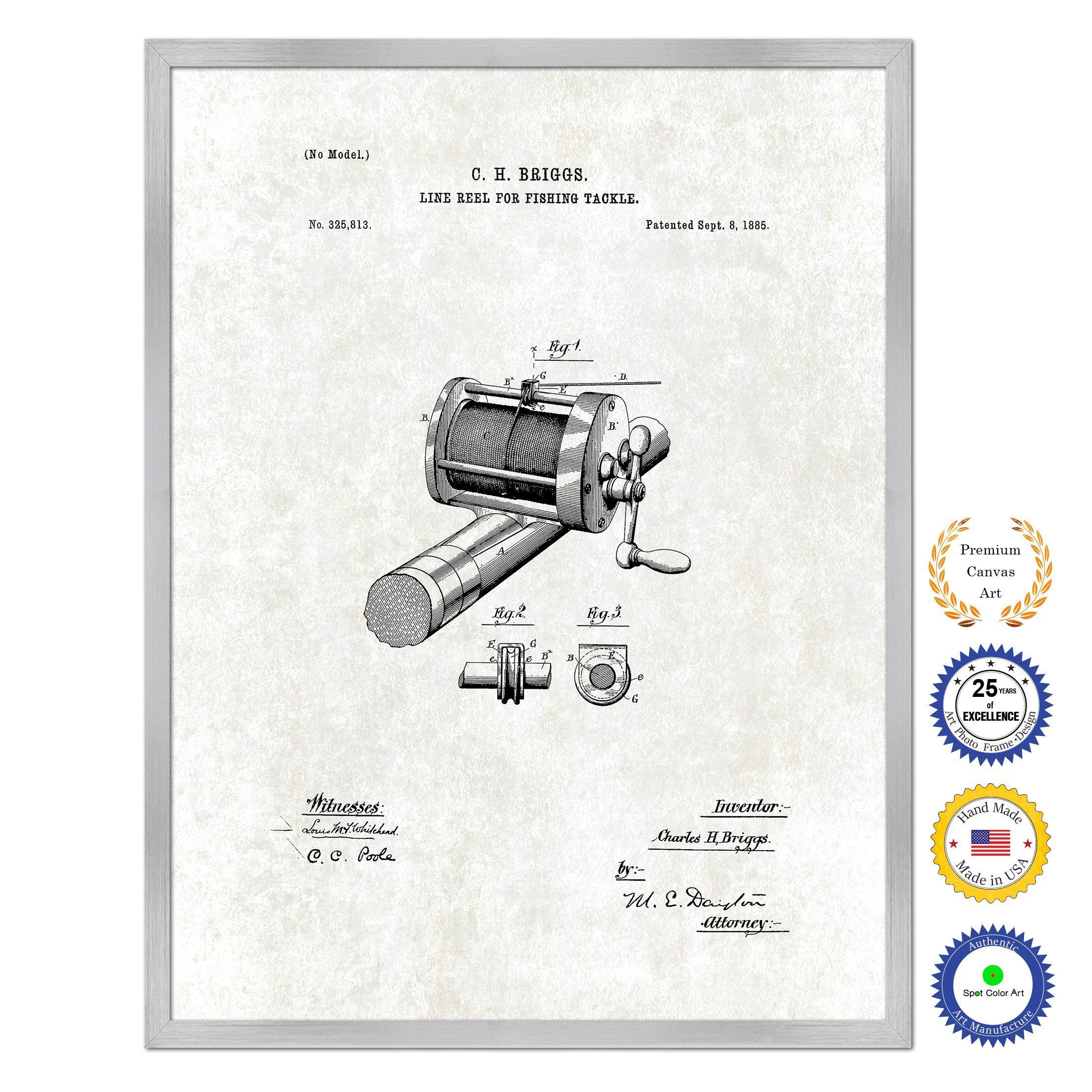 1885 Fishing Line Reel for Fishing Tackle Antique Patent Artwork ...