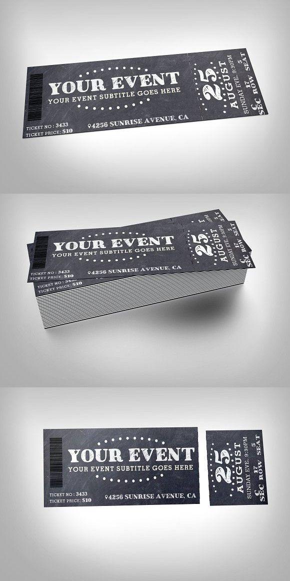Chalkboard event ticket Invitation Templates $600 Invitation