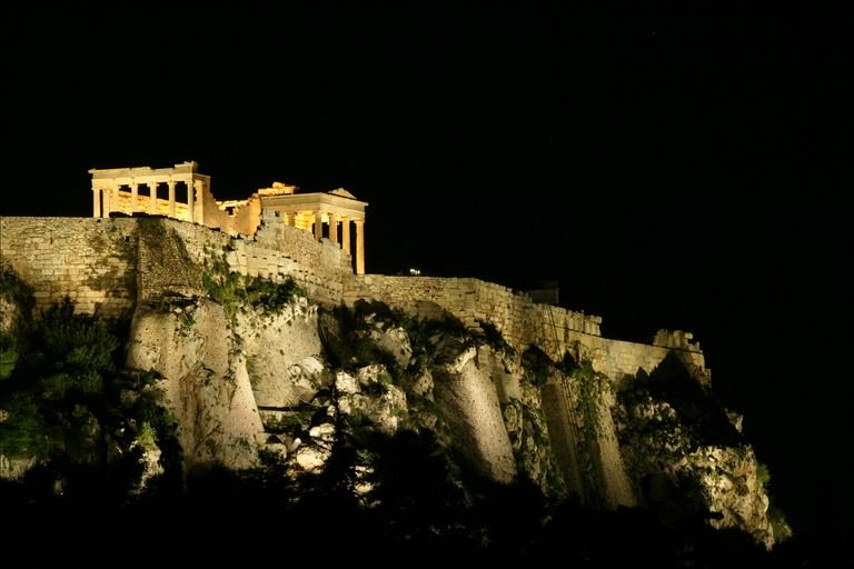 All the ruins of Athens. Day or night.