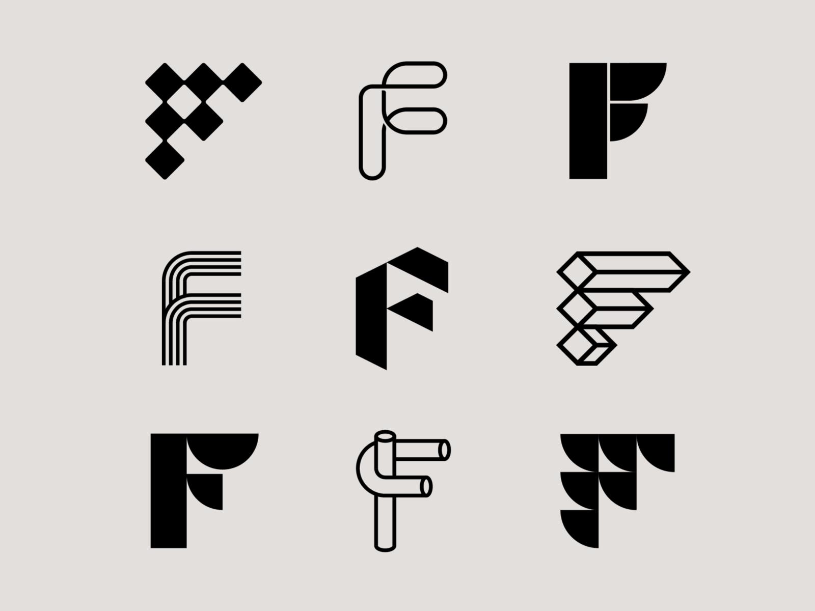 Letter F Exploration By Milos Bojkovic On Dribbble Logo Design Lettering S Logo Design