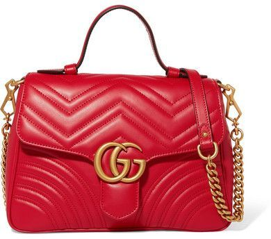 c3f46bb84 Gucci - Gg Marmont Small Quilted Leather Shoulder Bag - Red in 2019 ...