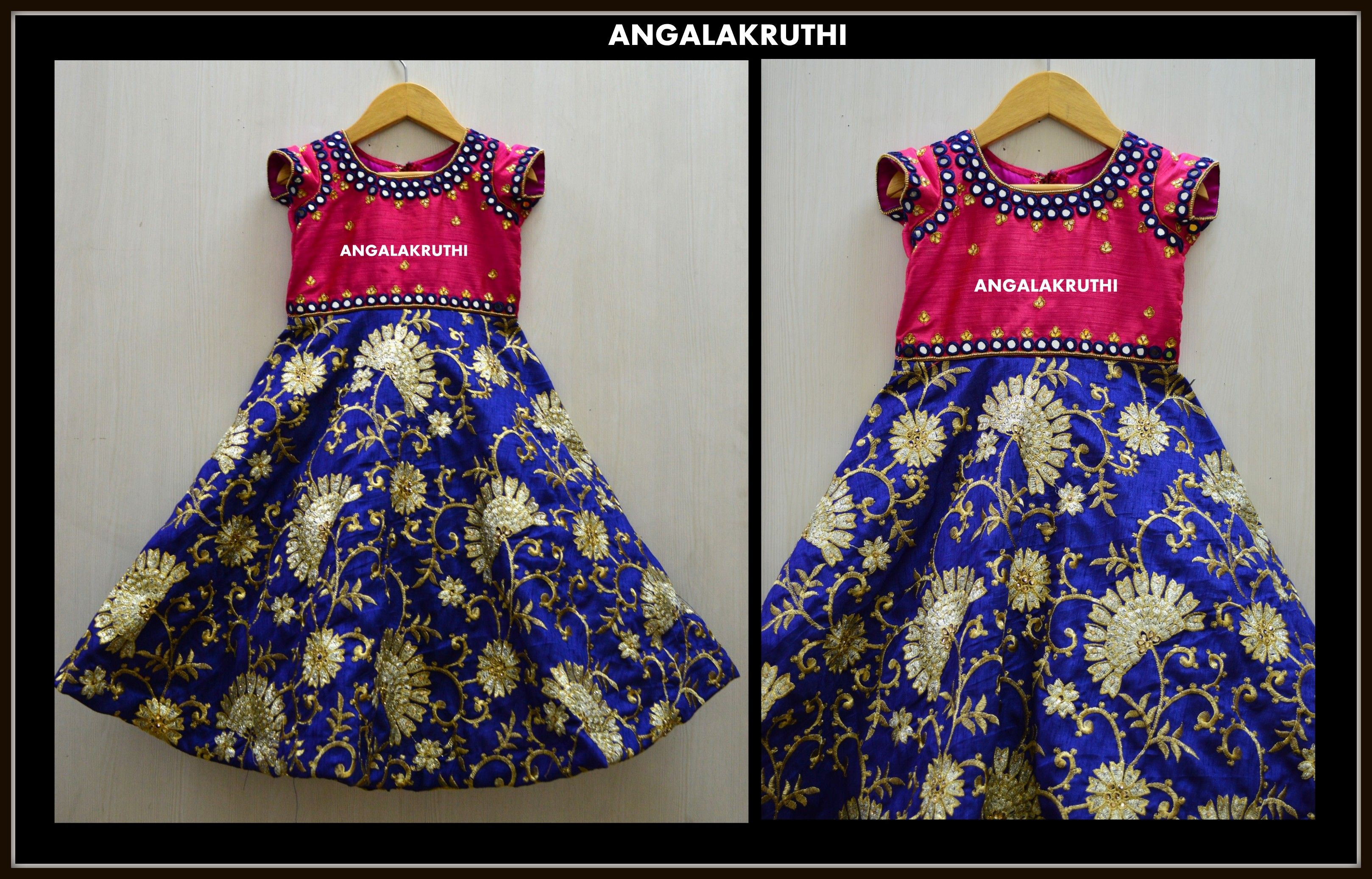 Kids custom designs Angalakruthi Kids frock with rich mirror hand