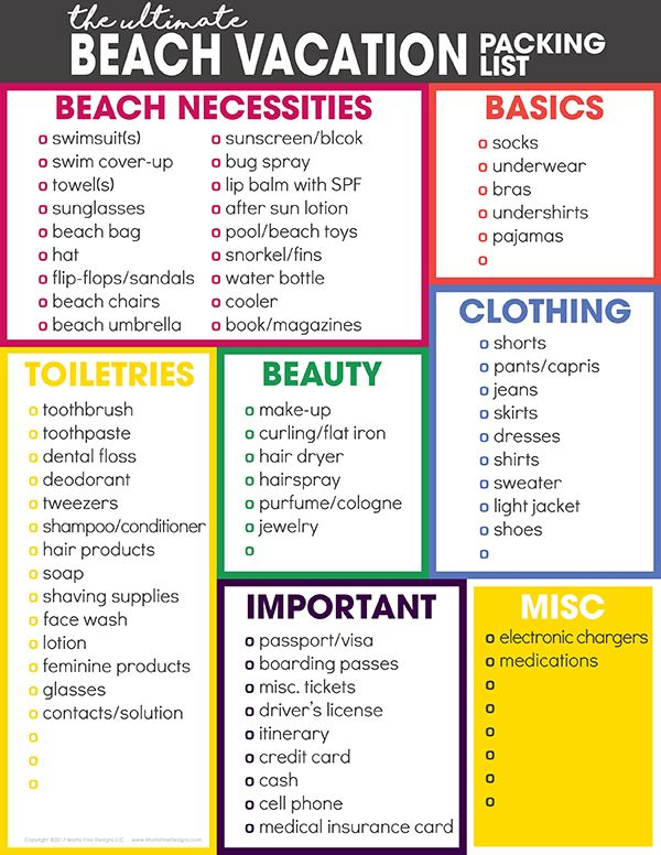travel lists for packing