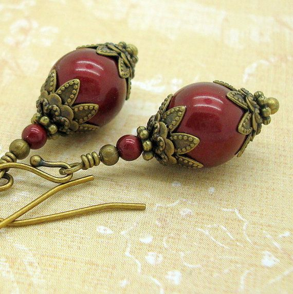 Earrings Handmade in the Victorian Jewelry style with Wine Red