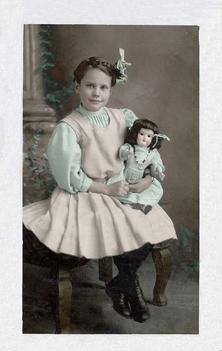 Landis family Foster Girl 1900-German bisque head doll, colorized photo