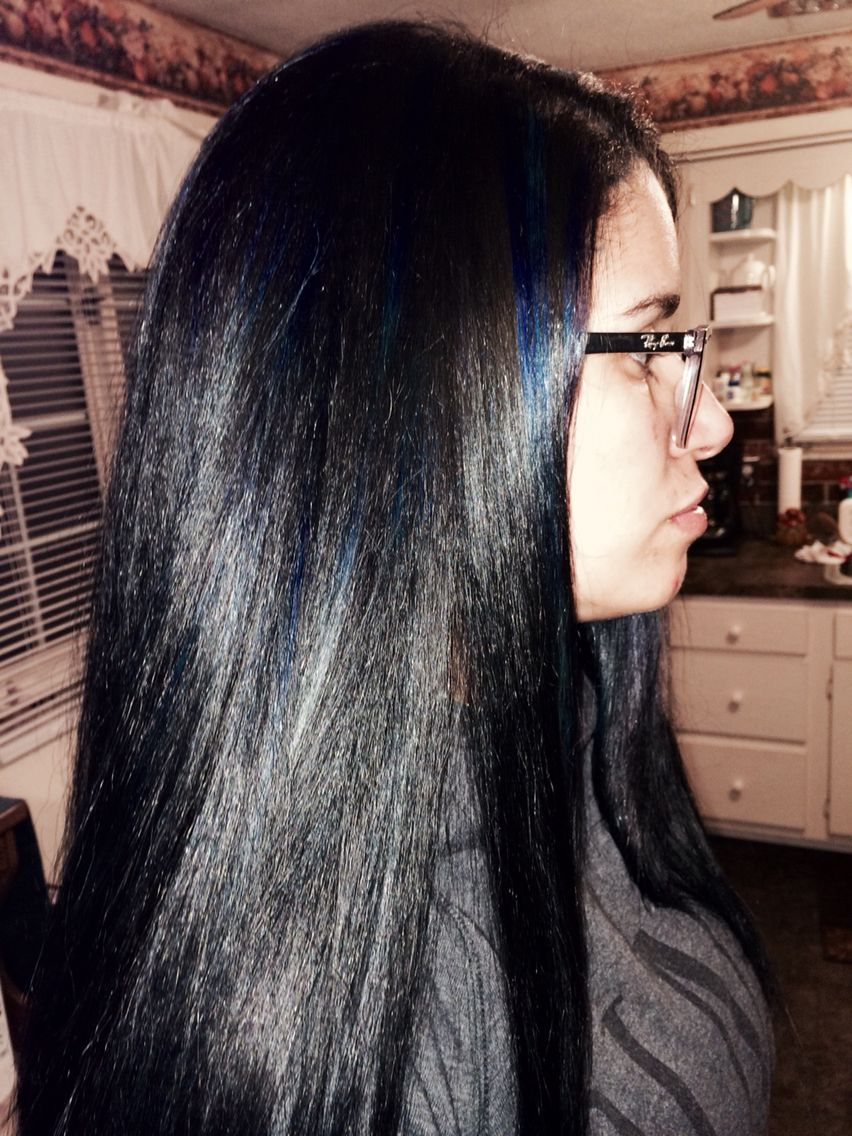 Jet Black Hair With Blue Tint And Blue Highlights Hair Obessed