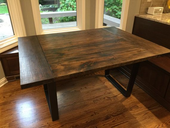 60 Quot 96 Quot Farmhouse Table With Metal Legs Indiana Modern Industrial Rustic Farm Dining Table In Kitchen Industrial Dining Table Metal Table Legs Farm table with metal legs