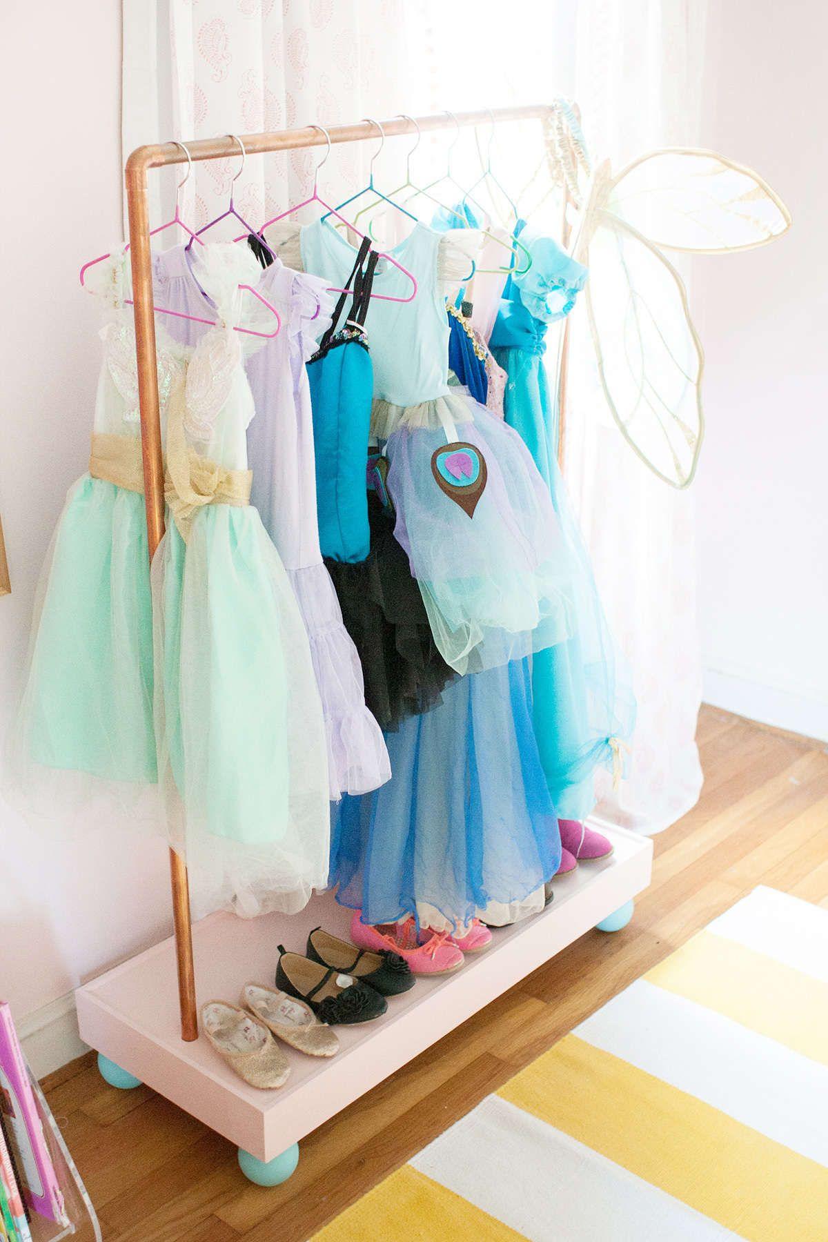 2e8612bc5375 DIY Clothes Rack | GIRL | Diy clothes rack, Girls bedroom, Playroom