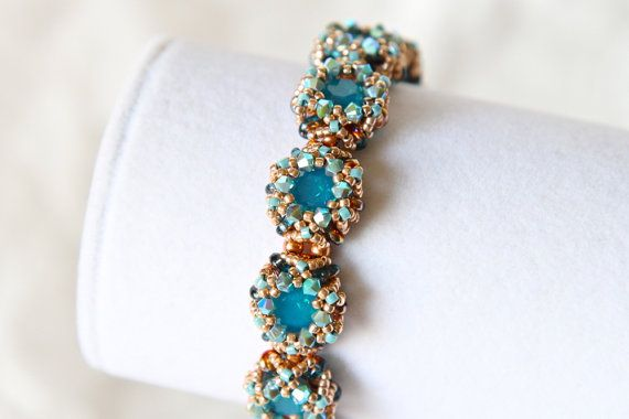 Aqua Rose Gold Bracelet by NightOwlStudioJewels on Etsy