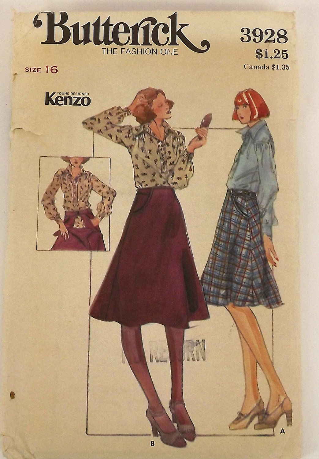 Vintage 70s Sewing Pattern Misses Blouse And Skirt Size