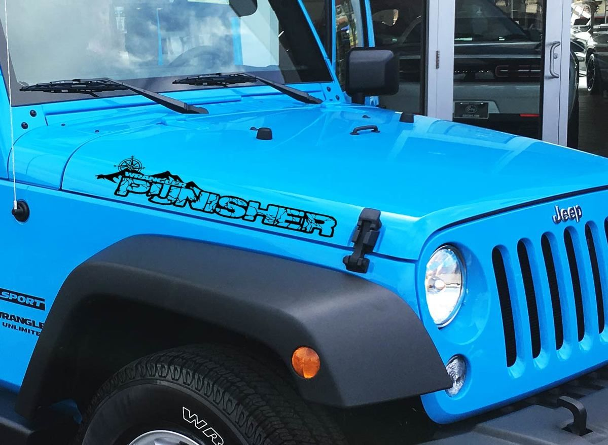 Pair Jeep Wrangler Punisher With Compass Vinyl Hood Decals Tj Jk