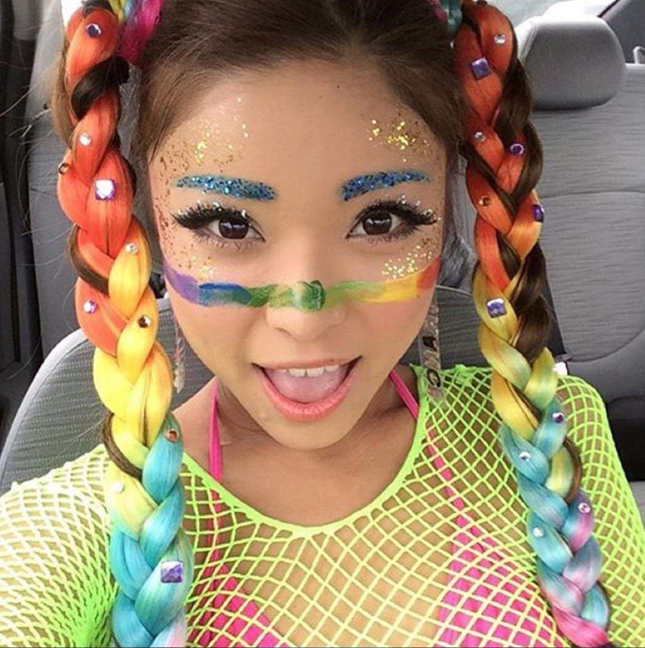99df7d827 Rainbow braids!   ravesperation   Festival makeup glitter, Hair ...
