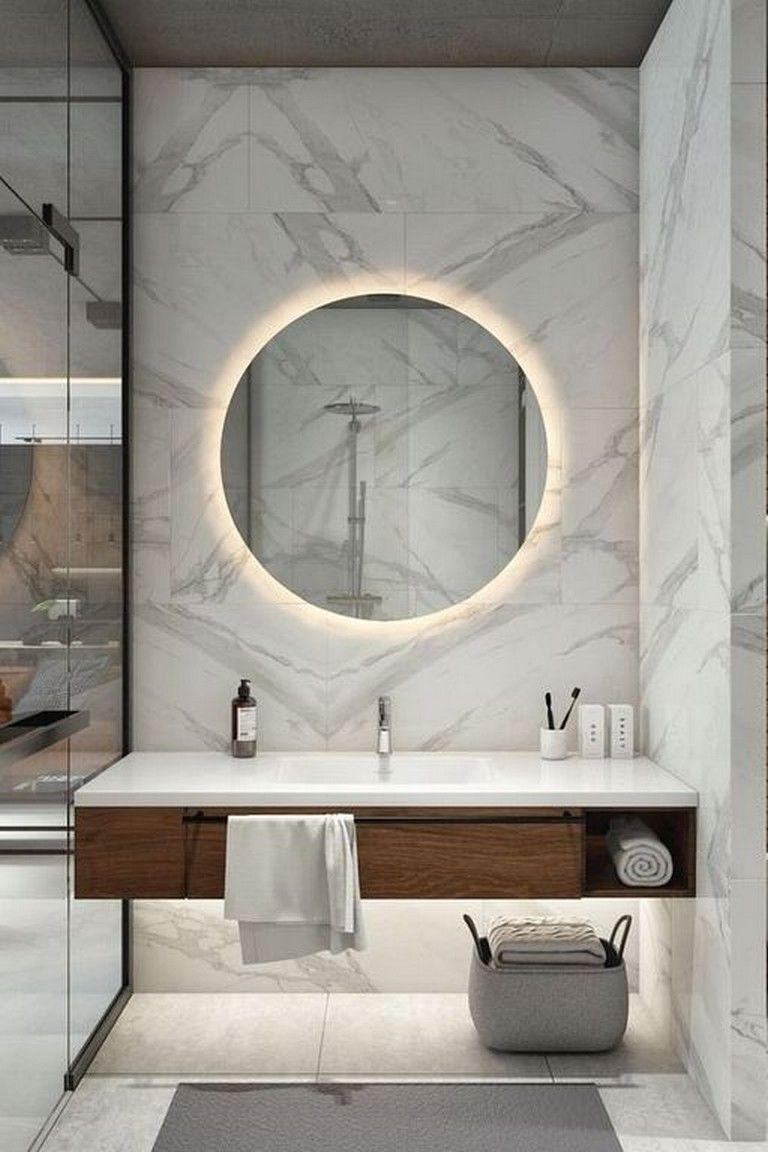 27 Cool Modern Round Mirror Designs For Bathroom Bathroom Bathroomideas Bath In 2020 Round Mirror Bathroom Bathroom Mirror Lights Modern Bathroom Mirrors