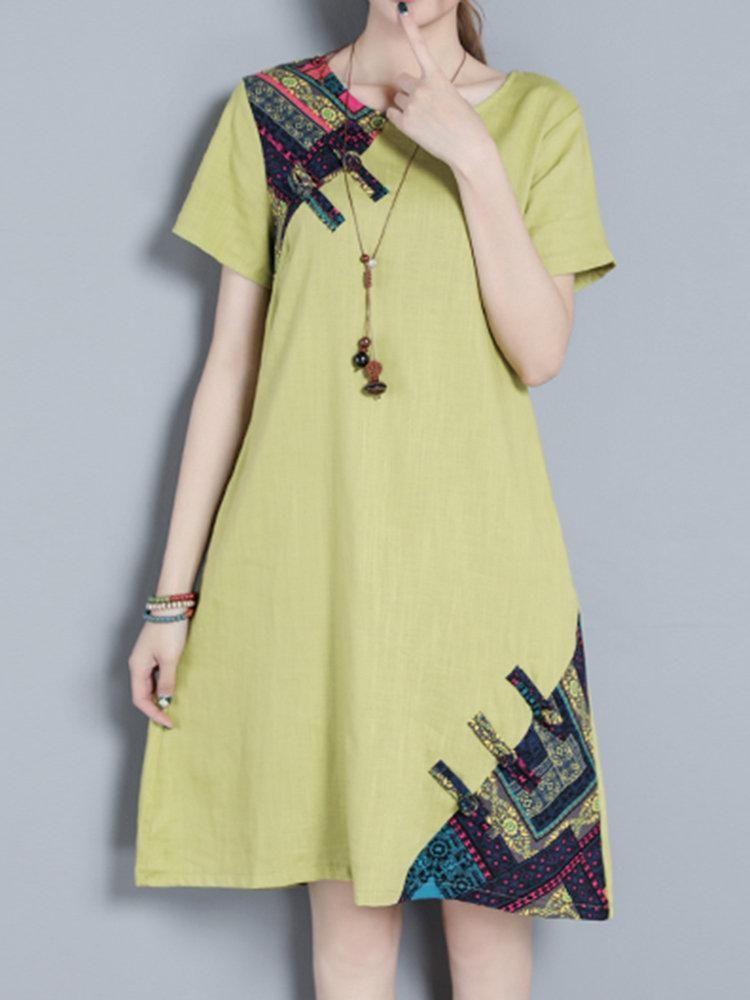 Women Patchwork Short Sleeve Plate Buckle Vintage Dresses