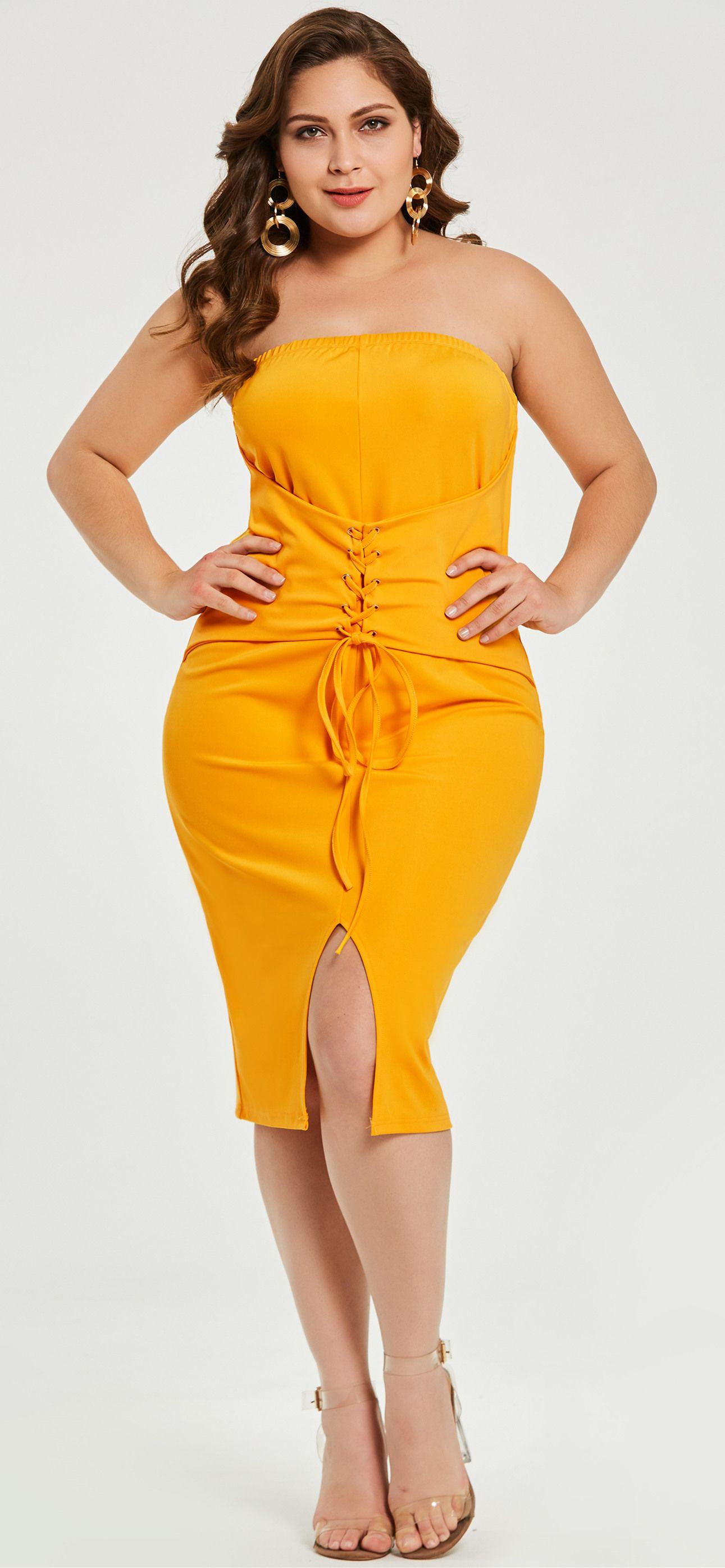Plus size strapless bodycon dress xxs