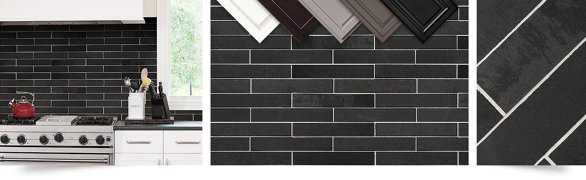 Black Slate Subway Backsplash Tile Idea