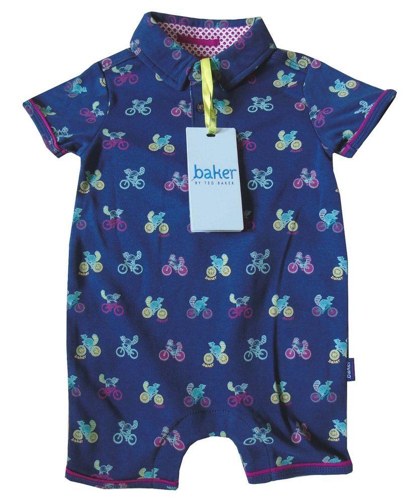 3cbdcace883e98 Ted Baker Baby Boys Polo Romper Bodysuit Sleepsuit Blue Designer Gift 0-3  Months