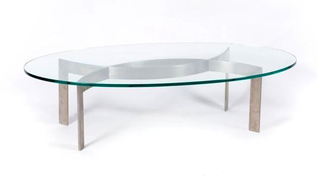 Table Basse Ovale Pietement Inox Et Dessus De Verre 1970 Adjuge