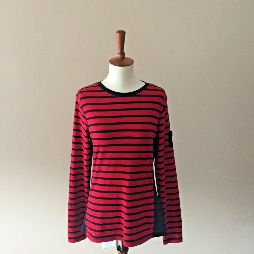 Womenus long sleeve striped chaps sport tshirt red u black size