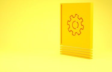 Yellow User manual icon isolated on yellow background User guide book Instruction sign Read before use Minimalism concept 3d illustration 3D render
