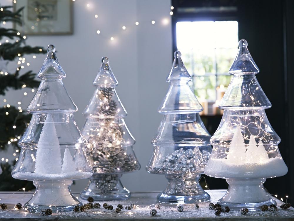 decorate with glass christmas tree jar - Glass Christmas Trees