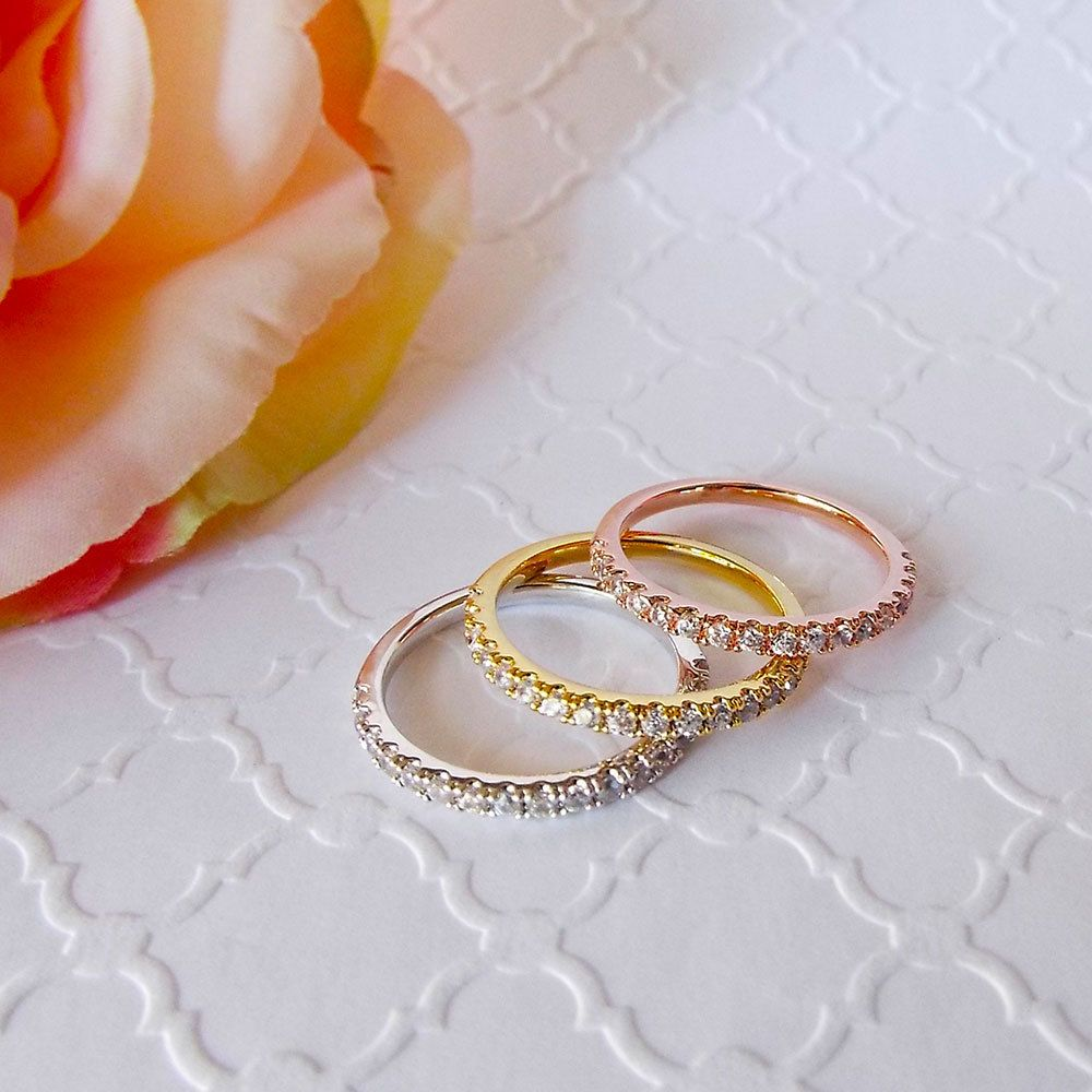 15 Mm Sterling Silver Half Eternity Band 3 Ring Set White Rose Yellow Gold CZ Diamond Stacking