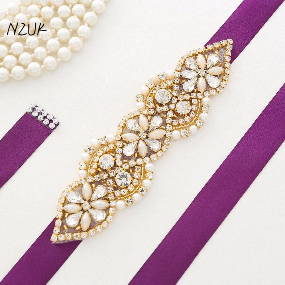 Crystal wedding belts golden rhinestone wedding dress belt